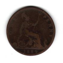 Moneda Inglaterra Gran Bretaña 1 Penny 1889 Km#755 Cobre