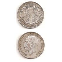 Moneda Inglaterra 1/2 Corona Crown 1922 De Plata