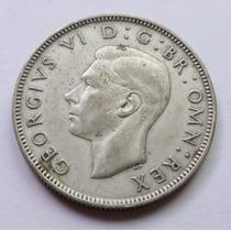 Moneda Plata Gran Bretaña 2 Chelines Shillings Jorge Vi 1944