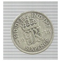 Inglaterra 6 Pence 1938 Plata