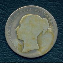 Moneda Gran Bretaña 1849 1 Shilling Km#734.1 (plata)
