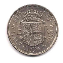 Moneda Inglaterra 1/2 Crown Año 1958 Catalogo 30 Dolares