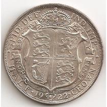 Gran Bretaña, 1/2 Crown, 1922. Plata. Xf+ / Aunc