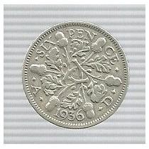 Inglaterra 6 Pence 1936 Plata