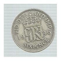 Inglaterra 6 Pence 1946 Plata