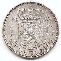 Holanda Moneda De 1 Gulden De Plata Año 1956 Km#184