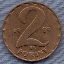 Hungria 2 Forint 1989 * Republica Del Pueblo *