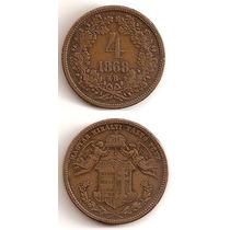 Moneda Hungria Harom 4 Krajczar 1868 Rara Y Antigua
