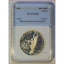 Hungria 200 Forint 1980 Plata Encapsulada Certificada F/cuño