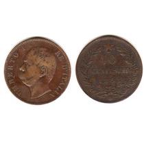 Moneda De Italia Año 1893 De 10 Centesimi Buena+