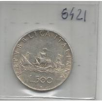 Italia Moneda De Plata 500 Liras De 1958 R