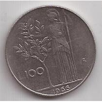 Italia Moneda De 100 Liras Año 1966 !!!