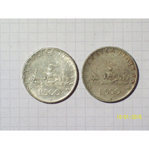 Italia 2 Monedas 500 Liras Plata 1960-66 22 Gr