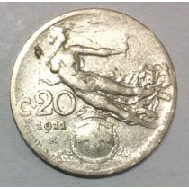 Moneda Italia 20 Centésimos 1911 R. Niquel