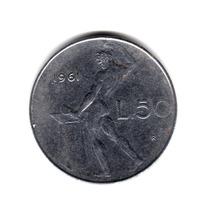 Moneda Italia Republica 50 Liras 1961 Km#95.1