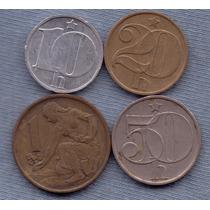 Checoslovaquia 10,20,50 Heller, 1 Koruna 1962-1986 4 Monedas