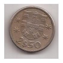 Portugal Moneda De 2 1/2 Escudos Año 1963 Escasa !!