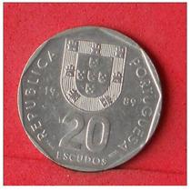 Portugal: Gran Moneda 20 Escudos 1989 Excelente!!!!