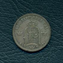 Moneda Suecia 1880 Eb 25 Ore Km#739 (plata)