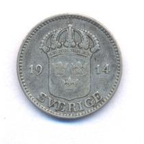 Suecia Sweden 25 Ore 1914 W Plata Gustaf V Km 785