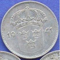Suecia 10 Ore 1941 G Plata * Gustaf V *
