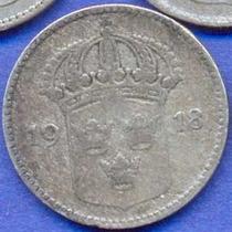 Suecia 10 Ore 1918 Plata * Gustaf V *