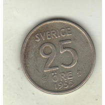 Suecia Moneda 25 Ore De Plata Año 1955 Km 824 - Xf