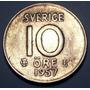 Suecia 10 Ore 1957 Plata * Gustaf V *