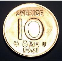 Suecia 10 Ore 1961 Plata * Gustaf V *