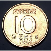 Suecia 10 Ore 1959 Plata * Gustaf V *