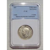 Sud Africa 2 Shilling Plata 1937 Encapsulada Certificada