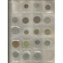 Coleccion 18 Monedas Diferentes En Hoja Plastica