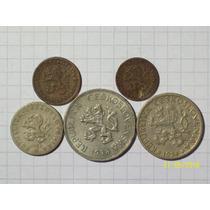 Checoslovaquia Colección 5 Monedas Antiguas
