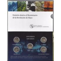 Blister 2015 Bicentenario Con 5 Monedas Bimetálicas Año 2010