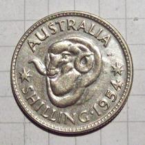 Australia 1 Shilling 1954 Plata Excelente