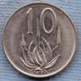 Sudafrica 10 Cents 1974 * Planta De Aloe *