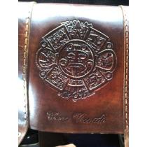 Morral Artesanal Azteca- Cuero Genuino Para Toda La Vida