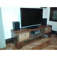 Mesa Tv Rústica Diseño - Madera De Pallet - Increíble