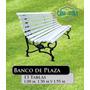 Banco De Plaza 13 Tablas Fundicion De Hierro 1mt Blanco