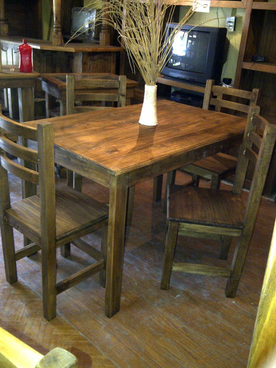 Muebles rusticos estilo campo mesa 4 sillas modelo tigre for Muebles de comedor precios