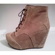 Botinetas 100% Cuero Gamuza Plataforma - Shoes Freak