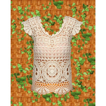 Remera Larga Tejida Crochet Algodon Rustico O Sedificado