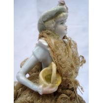 Soberbia Antigua Muñeca Porcelana Dama Miriñaque (0543)f
