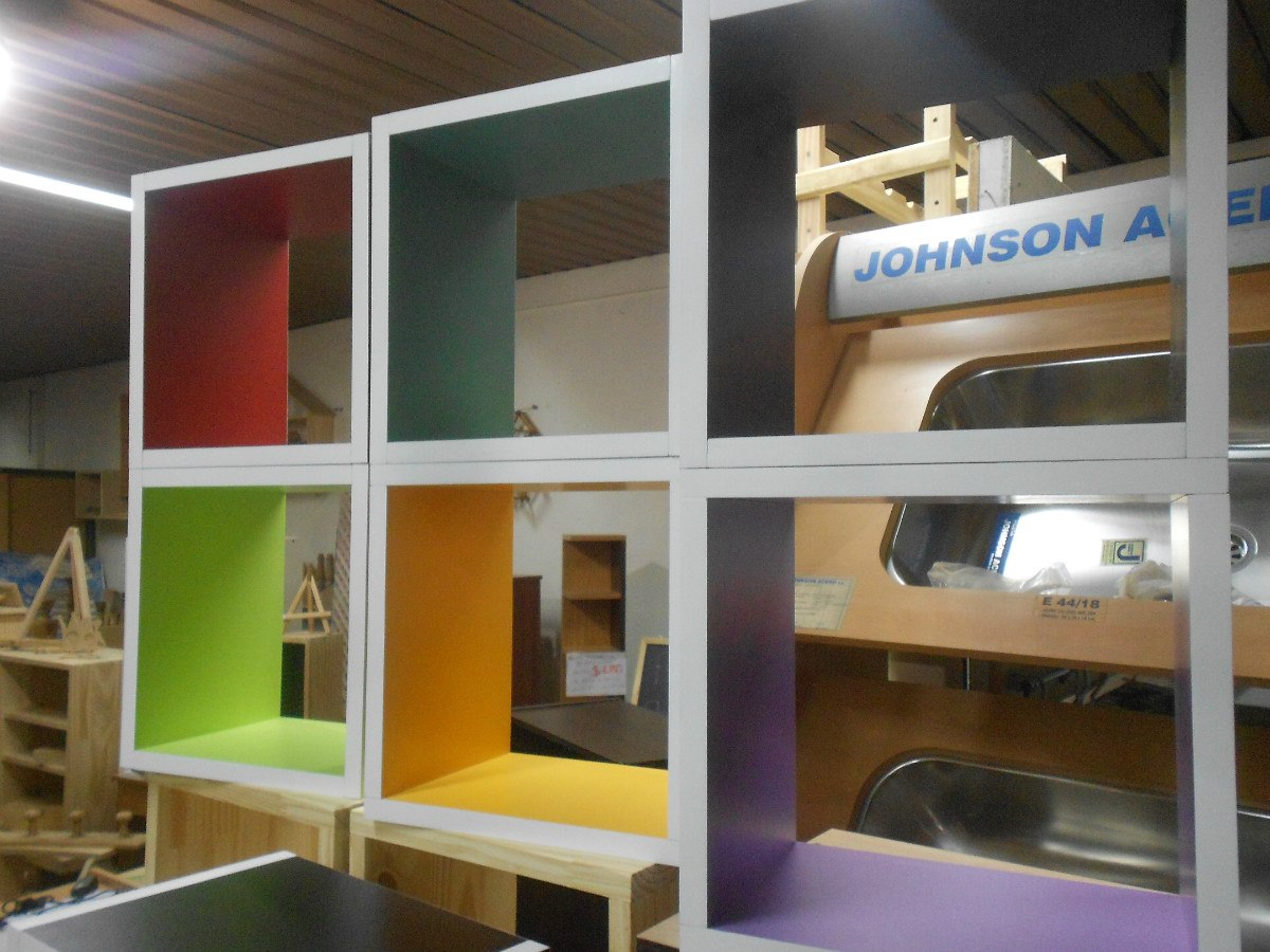 Mya1047 Muebles Cubos Colores Infantiles Biblioteca 303020  $ 90,00