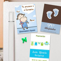 Souvenirs Imanes Nacimiento Personalizados 10 Imanes - Varon