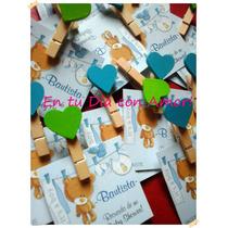 Souvenirs Mini Broches + Tarjetita Nacimiento Baby Shower