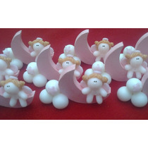 10 Medialunas De Madera Con Angelito O Bebe (porcelana Fria)