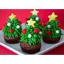 Arbolitos Navideños Brownies Con Frutilla, Crema Y Confites