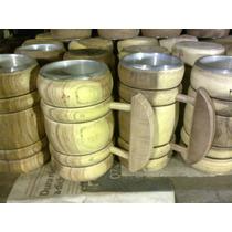 Chops De Cerveza Artesanal 500cc (madera Y Vaso De Aluminio)