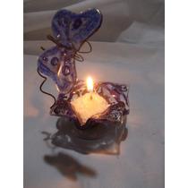 Portavela+vela/sal Ceremonia Souvenir Vitrofusion (x10u)